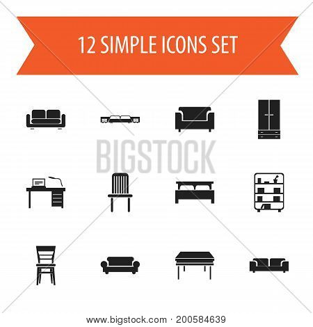 Set Of 12 Editable Furnishings Icons. Includes Symbols Such As Seat, Trestle, Davenport And More