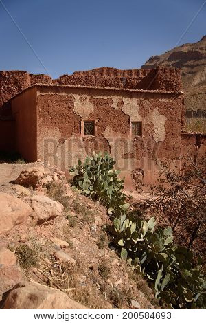 Small village in Morocco, Africa. Atlas Mountains.