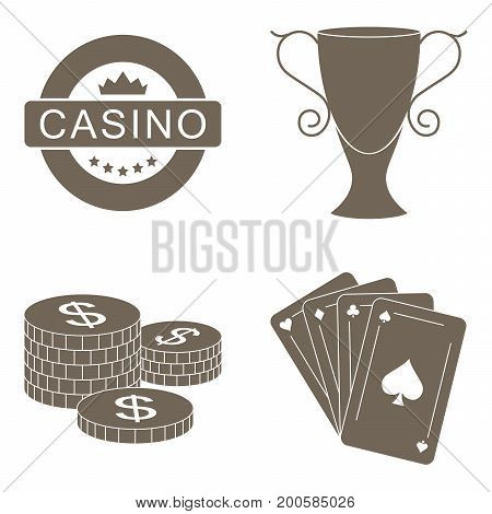 Simple set collection of gambling related vector icons. Vector black casino icons set.