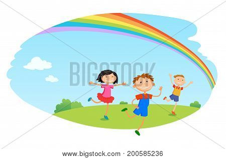 children play clouds design over sky background vector illustration cartoon