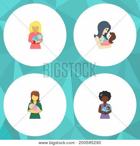Flat Icon Mam Set Of Woman, Kid, Newborn Baby And Other Vector Objects