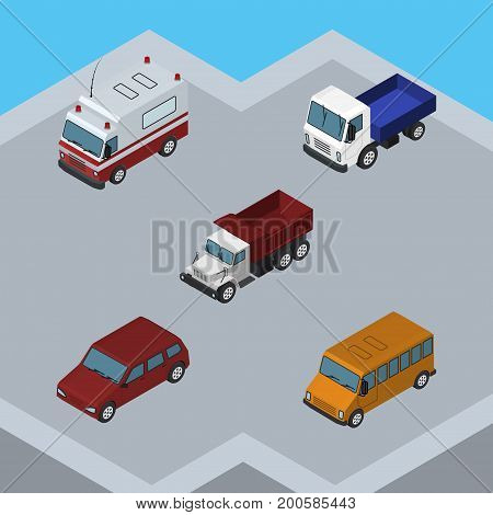 Isometric Transport Set Of Car, Lorry, Autobus And Other Vector Objects