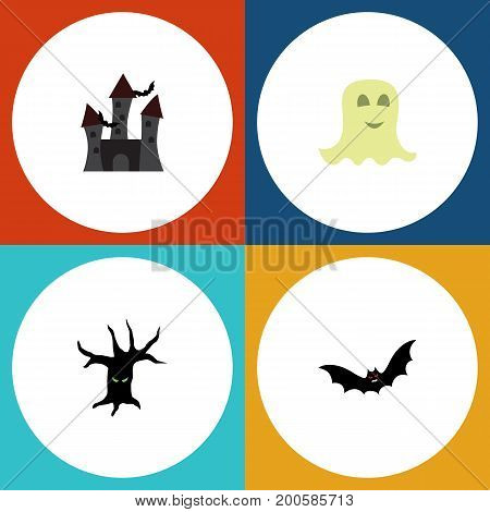 Flat Icon Festival Set Of Fortress, Terrible Halloween, Superstition And Other Vector Objects