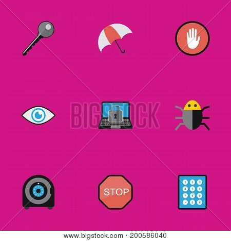 Set Of 9 Editable Procuring Flat Icons. Includes Symbols Such As Look, Password, Caution And More