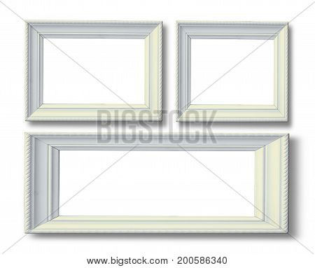 White antique picture frame with space use use for insert texts or something isolated on white background
