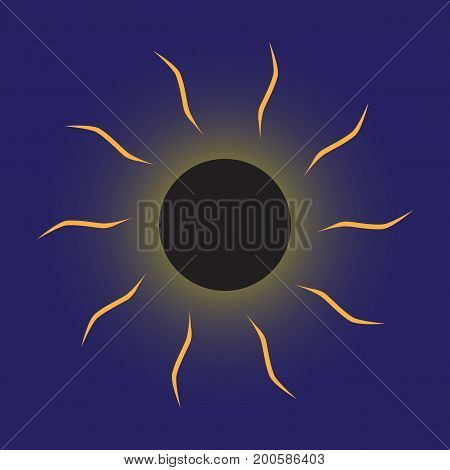 Vector illustration of a total eclipse. The moon completely covered the sun only the solar corona is visible - a glow around the satellite of the Earth. Thematic illustration of the astronomical phenomenon