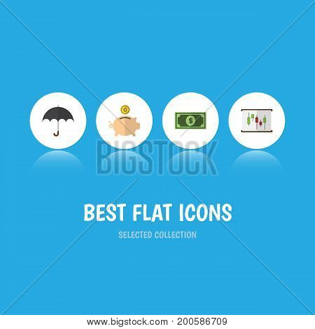Flat Icon Gain Set Of Money Box, Diagram, Parasol And Other Vector Objects