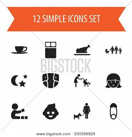 Set Of 12 Editable Relatives Icons. Includes Symbols Such As Lineage, Mother, Fasten And More