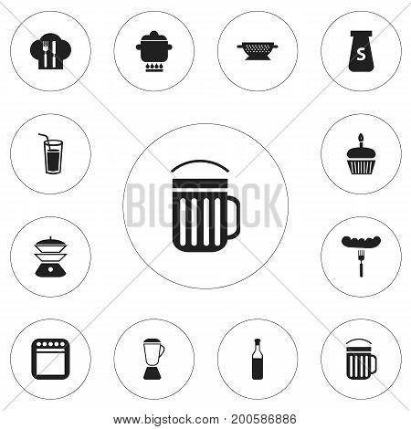 Set Of 12 Editable Cook Icons. Includes Symbols Such As Prepare Meal, Salt, Squeezer And More