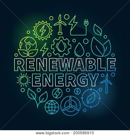 Renewable Energy round colorful illustration. Vector circular symbol made with solar, water, bio, wind power outline icons on dark background