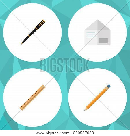 Flat Icon Equipment Set Of Nib Pen, Letter, Straightedge And Other Vector Objects