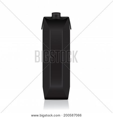 Black carton pack mock up for juice, milk. Vector package template for your design