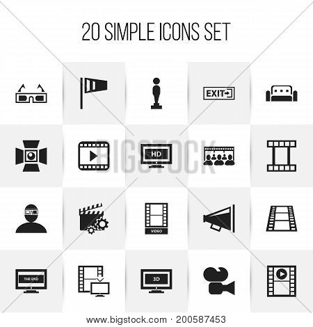 Set Of 20 Editable Filming Icons. Includes Symbols Such As Filmstrip, Spectator, Widescreen And More