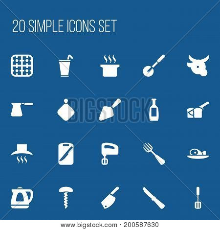 Set Of 20 Editable Cooking Icons. Includes Symbols Such As Gas Burner, Cow, Kitchen Blade And More
