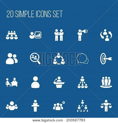Set Of 20 Editable Team Icons. Includes Symbols Such As Partnership, Command, Male