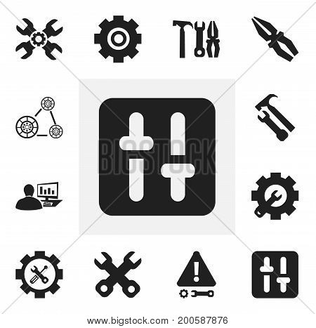 Set Of 12 Editable Toolkit Icons. Includes Symbols Such As Fix Tool, Technical Support, Caution And More