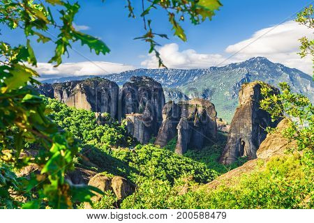 Landscape with monasteries and rock formations in Meteora Greece.