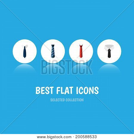 Flat Icon Clothing Set Of Textile, Necktie, Style And Other Vector Objects