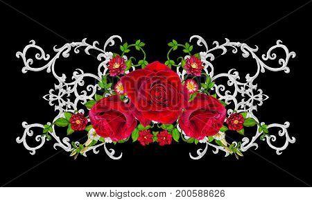 Silver lace openwork weaving curls. Garland of dark velvet red roses. Openwork weaving delicate.