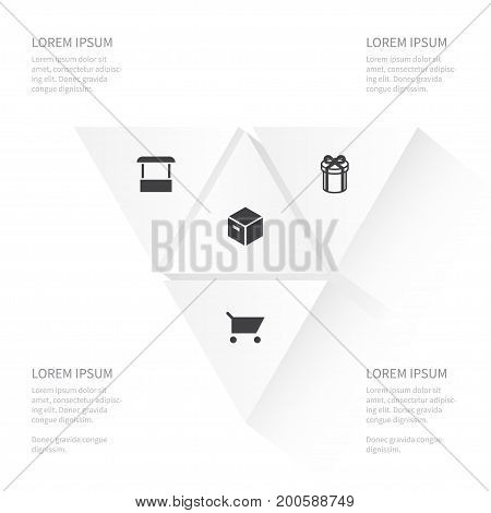 Icon Magazine Set Of Present, Parcel, Pushcart And Other Vector Objects