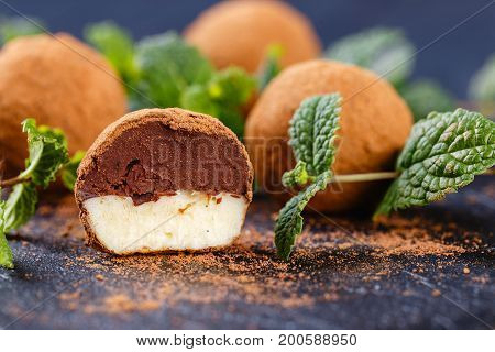 Truffle Chocolate Candy With Vanilla And Chocolate Filling