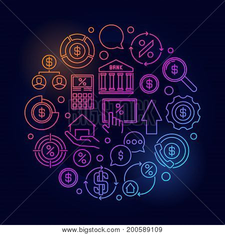 Finance round thin line colorful illustration. Vector loan or mortgage business concept circular outline symbol on dark background