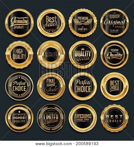Sale retro vintage golden badges and labels vector