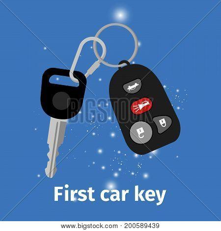 First car key with key holder on blue background, vector illustration