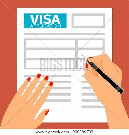 Woman hands filling out visa application, vector illustration