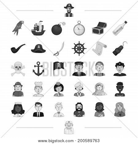 pirate, profession, service and other  icon in black style.education, travel, treasure icons in set collection.