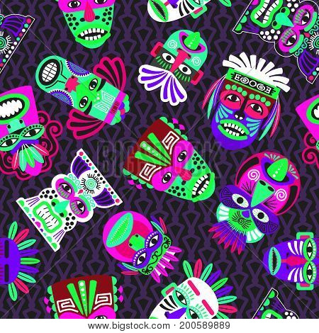 Pink and green masks on the dark background, seamless pattern with tribal geometric elements, vector illustration