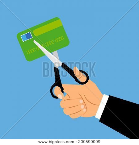 Debit card account closing concept. Card cut with scissors vector illustration