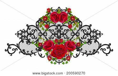 Black lace openwork weaving curls. Garland of dark velvet red roses. Openwork weaving delicate.