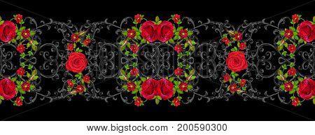 Black lace openwork weaving curls. Garland of dark velvet red roses. Openwork weaving delicate. Horizontal seamless floral pattern.