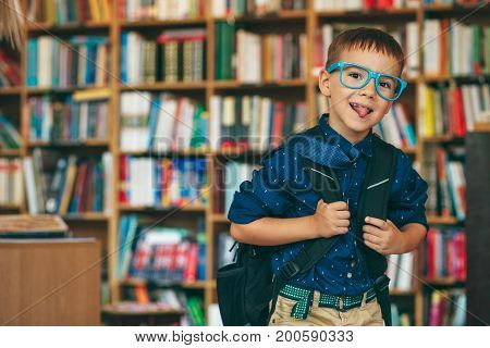 Boy With Backpack In Library