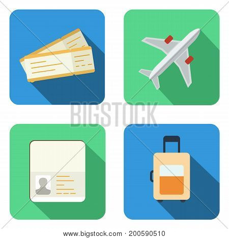 Set of airplane icons in flat design style vector EPS10