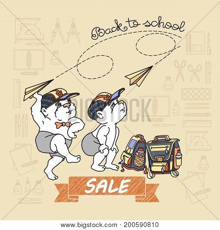 Bears and paper toy plane. Cute bear and satchel.  Back to School Sale. Bears  and education supplies icons set isolated on light background. Vector.