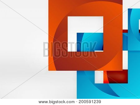 Squares geometric shapes in light grey 3d space. abstract background