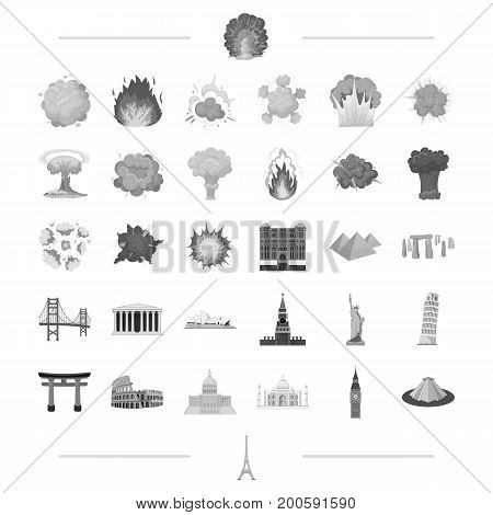 travel, landmark, monument and other  icon in black style.war, danger, weapons icons in set collection.