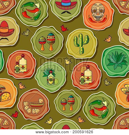 Cute various mexican icons on green background. Cartoon  Sombrero, tequila, pepper, cactus and skull. Vector seamless pattern.