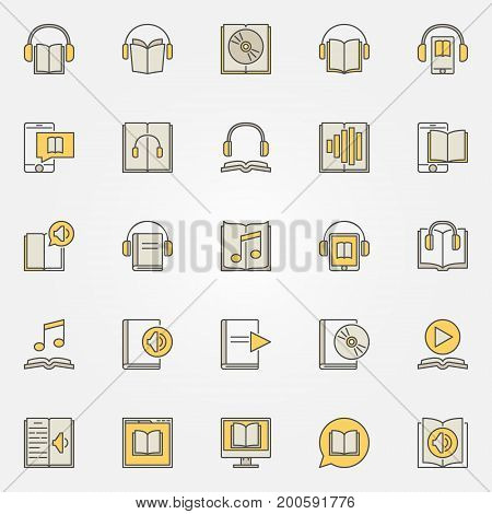 Audiobook colorful icons set. Vector creative ebook and audio book signs