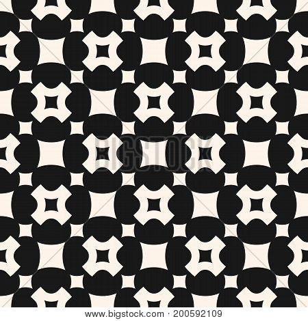 Vector seamless pattern, simple geometric texture with rounded squares, smooth carved crosses in staggered array. Dark abstract minimalist background. Design element for prints, decor, textile, covers.