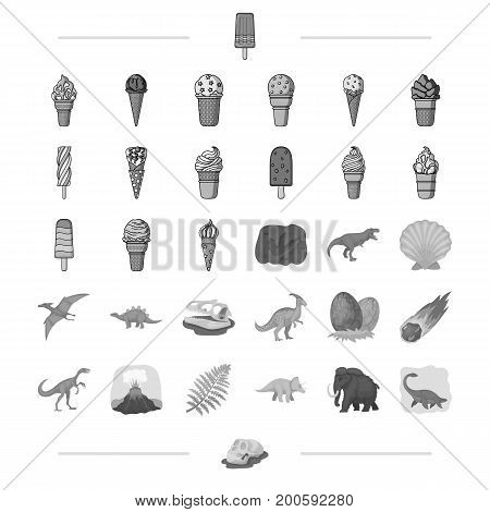 Different types of ice cream and other  icon in monochrome style.. Dinosaurs, Jurassic period icons in set collection.