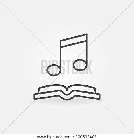 Musical note with open book icon. Vector audio-book concept outline symbol or design element