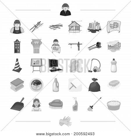 Architecture, construction and other  icon in monochrome style. Cleaning, cleanliness, garbage, washing icons in set collection.
