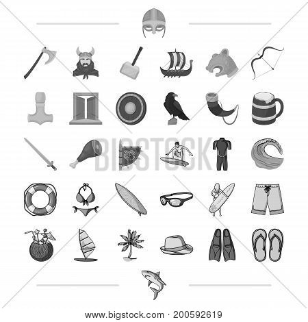 Vikings, weapons, symbols and other  icon in monochrome style. Surfing, sport, hobby icons in set collection.