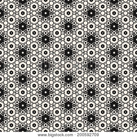 Vector seamless pattern with different sized hexagons. Elegant monochrome geometric ornament. Abstract repeat background. Modern stylish hexagonal texture. Design for decor, prints, covers, package. Ornamental pattern.