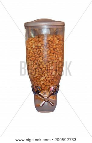 A Hand Turning Dispenser for Dry Roasted Peanuts.