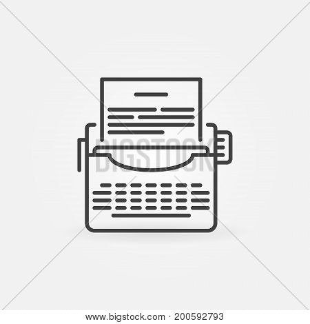 Typewriter vector icon in thin line style. Writing or copywriting concept outline sign