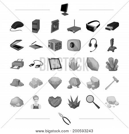 Computer hardware and other  icon in monochrome style. Precious, stone, processing icons in set collection.